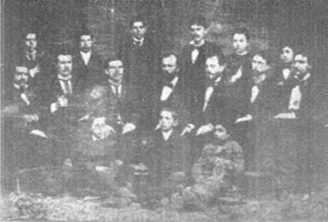 Певческият хор през 1879 г. начело с диригента Янко Мустаков